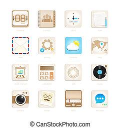 conjunto, eps10, iconos, apps, ilustración, vector, retro, ...