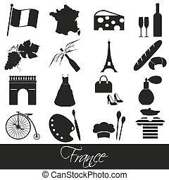 conjunto, eps10, iconos, país, francia, símbolos, tema