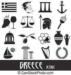 conjunto, eps10, iconos, país, símbolos, tema, grecia