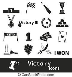 conjunto, eps10, iconos, símbolos, perfecto, victoria