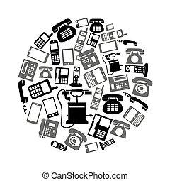 conjunto, eps10, iconos, símbolos, teléfono, negro, vario, círculo