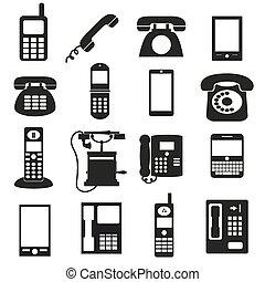 conjunto, eps10, iconos, símbolos, teléfono, negro, vario