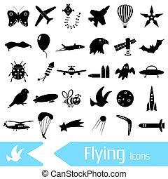 conjunto, eps10, iconos, vuelo, símbolos, tema