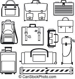 conjunto, equipaje, iconos