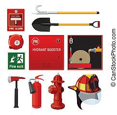 conjunto, equipment., firefighting