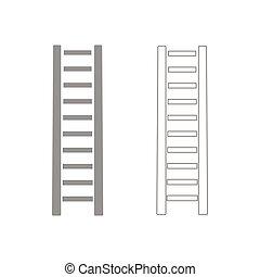 conjunto, escala de madera, gris, paso, icono