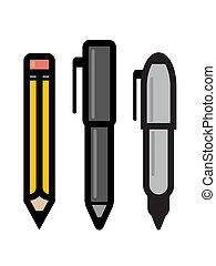 conjunto, escritura, utensilios