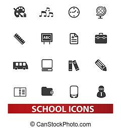 conjunto, escuela, vector, iconos