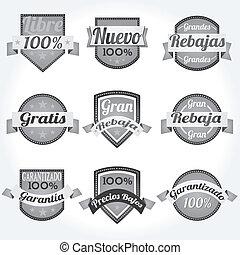 conjunto, español, vector, etiquetas, retro