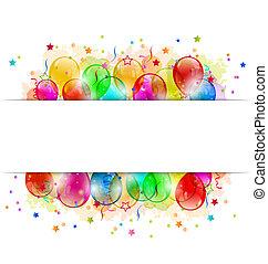 conjunto, espacio, texto, fiesta, confeti, globos