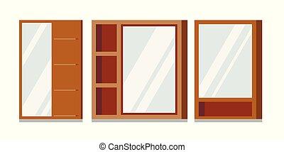 conjunto, espejos, marcos, bathroom., de madera, vector, ...