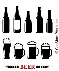 Conjunto, espuma, cerveza, jarra, botella, icono
