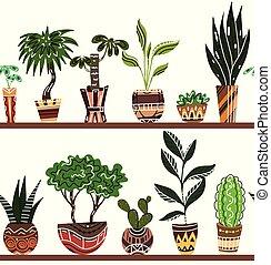 conjunto, estantes, ollas, seamless, decoraciones, hogar, fronteras, flores, caricatura