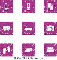 conjunto, estilo, bedchamber, grunge, iconos