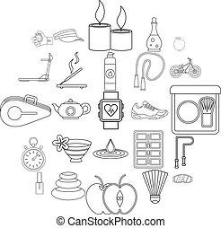 conjunto, estilo, bienestar, contorno, iconos