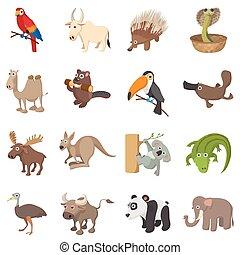 conjunto, estilo, caricatura, iconos animales