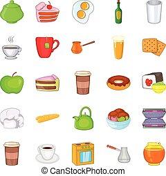 Conjunto, estilo, comida, caricatura, iconos