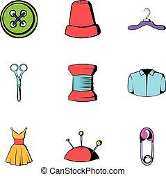 conjunto, estilo, costura, caricatura, iconos