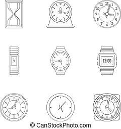 conjunto, estilo, cronometrador, contorno, iconos