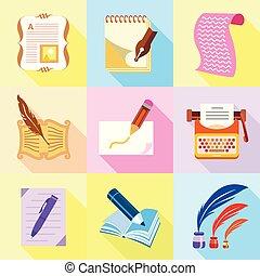 conjunto, estilo, escriba, caricatura, iconos
