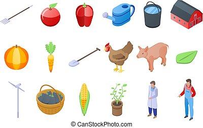 conjunto, estilo, iconos, agronomist, isométrico