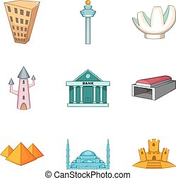 conjunto, estilo, iconos, caricatura, arquitectura