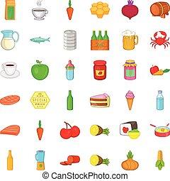 conjunto, estilo, iconos, caricatura, comida