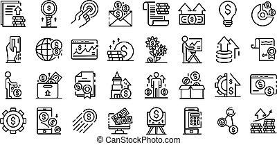 conjunto, estilo, inversionista, contorno, iconos
