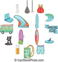 conjunto, estilo, surf, caricatura, iconos