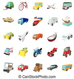conjunto, estilo, transporte, caricatura, iconos