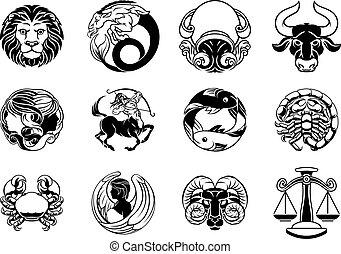 conjunto, estrella, horóscopo, señales, zodíaco, icono,...