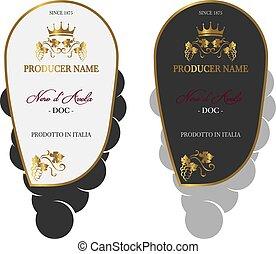 conjunto, etiqueta del vino