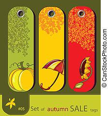 conjunto, etiquetas, naturaleza, venta, otoño, retro