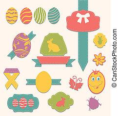 Conjunto, Etiquetas,  -, otro,  (2), álbum de recortes, Cintas, elementos, Pascua