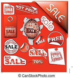 conjunto, etiquetas, venta, boletos, sellos, pegatinas