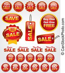 conjunto, etiquetas, venta, vector, promoción, insignias