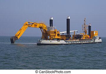 conjunto, excavadores, mar, profundizar, fondo del mar,...