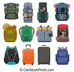 conjunto, excursionismo, campamento, mochila, mochila, campo, aislado, turista, o, viaje equipo, vector, ilustración, plano de fondo, montañismo, blanco, deporte, mochila, bolsa, el backpacking