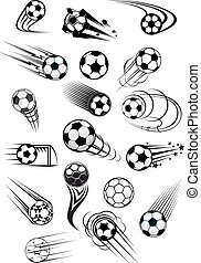 conjunto, fútbol, movimiento, pelotas, futbol, o