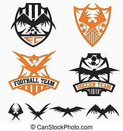 conjunto, fútbol, vector, diseño, plantilla, equipo, águilas, crestas