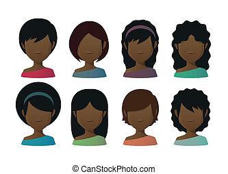 conjunto, faceless, avatars, hembra