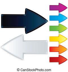 conjunto, faceted, vector, flecha, gráficos, signs.