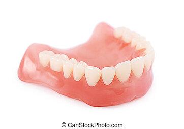 conjunto, falso, aislado, plano de fondo, dientes, blanco