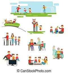 conjunto, familia , juntos, diversión, ilustraciones, teniendo, feliz