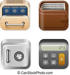 conjunto, finanzas, iconos