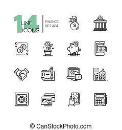 conjunto, finanzas, iconos, moderno, -, sola línea