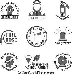 conjunto, firefighting, etiqueta