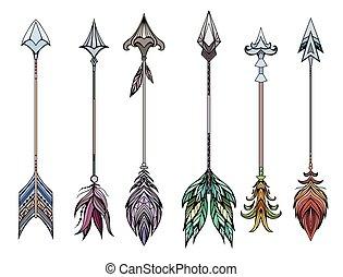 conjunto, flechas, coloreado, boho