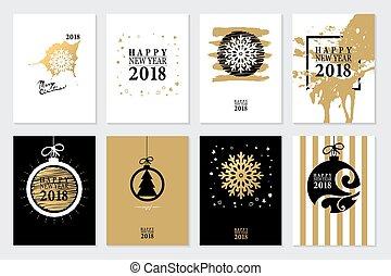 conjunto, fondo., 2018, año, nuevo, o, tarjeta, feliz