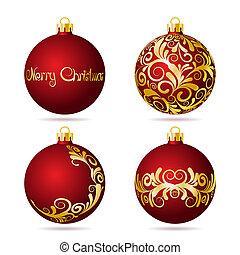 conjunto, fondo., pelotas, navidad blanca, rojo